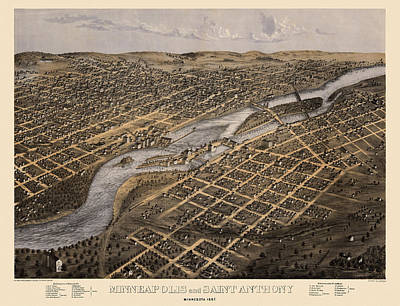 Old Drawing - Antique Map Of Minneapolis Minnesota By A. Ruger - 1867 by Blue Monocle