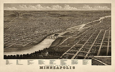 Antique Drawing - Antique Map Of Minneapolis Minnesota By A. Ruger - 1879 by Blue Monocle