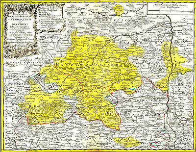 Old Map Painting - Antique Map Of Mittlefranken Around Neustadt by Celestial Images