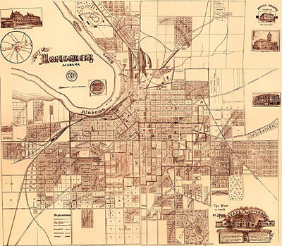 Antique Map Of Montgomery Alabama 1899 Print by Mountain Dreams