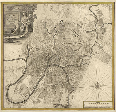 Moscow Drawing - Antique Map Of Moscow Russia By Ivan Fedorovich Michurin - 1745 by Blue Monocle