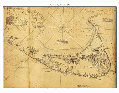 Nobody Drawing - Antique Map Of Nantucket by Celestial Images