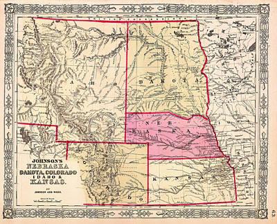 Kansas City Drawing - Antique Map Of Nebraska Dakota Colorado Idaho And Kansas 1863 by Mountain Dreams