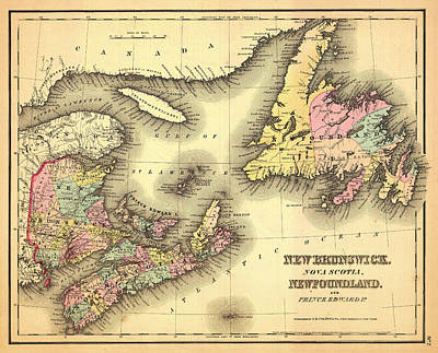Antique Map Of New Brunswick Nova Scotia And Newfoundland 1858 Print by Mountain Dreams