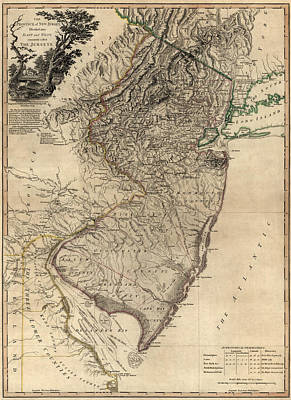 Antique Drawing - Antique Map Of New Jersey By William Faden - 1778 by Blue Monocle