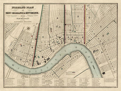 Antique Drawing - Antique Map Of New Orleans By Balduin Mollhausen - 1845 by Blue Monocle