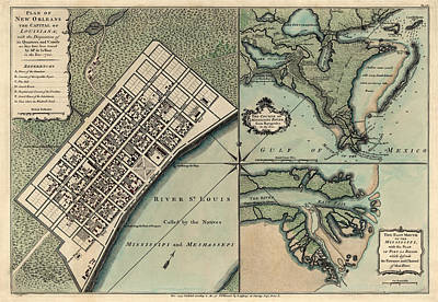 Antique Map Of New Orleans By Thomas Jefferys - 1759 Print by Blue Monocle