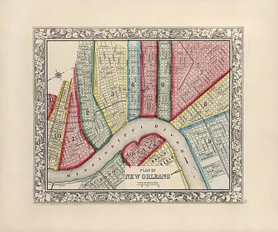 Old Drawing - Antique Map Of New Orleans Louisiana By Samuel Augustus Mitchell - 1863 by Blue Monocle