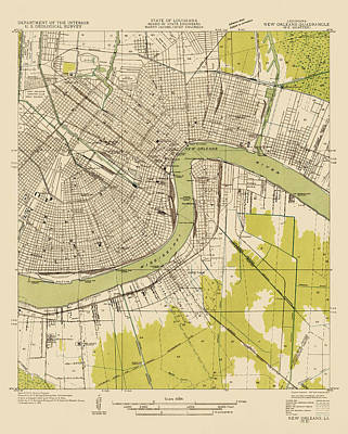 Antique Drawing - Antique Map Of New Orleans - Usgs Topographic Map - 1932 by Blue Monocle