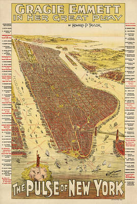 Central Park Drawing - Antique Map Of New York City - 1891 by Blue Monocle