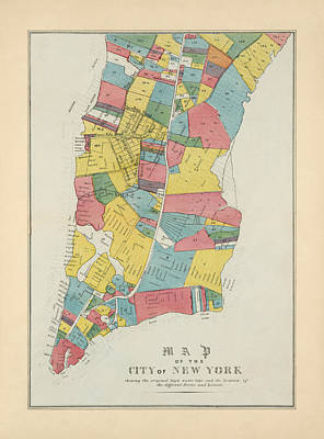 Central Park Drawing - Antique Map Of New York City By George Hayward - 1852 by Blue Monocle