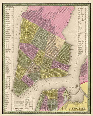 New York State Drawing - Antique Map Of New York City By Samuel Augustus Mitchell - 1849 by Blue Monocle