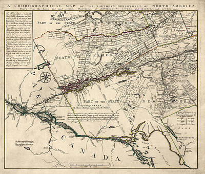 Lakes Drawing - Antique Map Of New York State And Vermont By Covens Et Mortier - 1780 by Blue Monocle