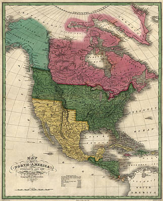 Old Drawing - Antique Map Of North America By D. H. Vance - 1826 by Blue Monocle