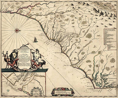 North Carolina Drawing - Antique Map Of North Carolina And South Carolina By Joel Gascoyne - 1682 by Blue Monocle