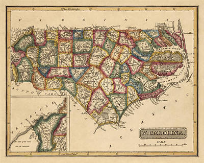 North Drawing - Antique Map Of North Carolina By Fielding Lucas - Circa 1817 by Blue Monocle
