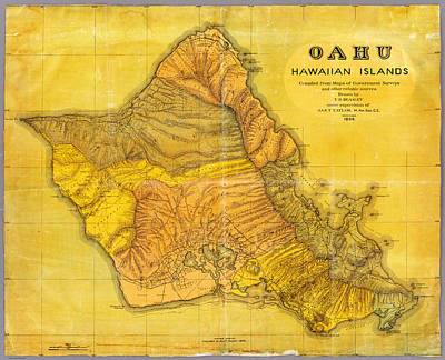 Nobody Drawing - Antique Map Of Oahu Hawaiian Islands by Celestial Images
