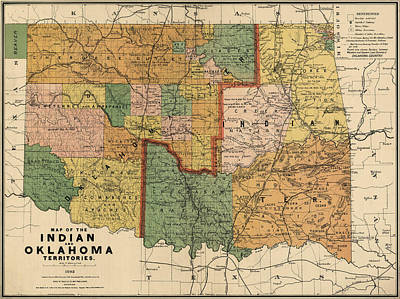 Company Drawing - Antique Map Of Oklahoma By Rand Mcnally And Company - 1892 by Blue Monocle