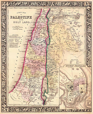 Antique Map Of Palestine Or Holy Land 1864 Print by Mountain Dreams