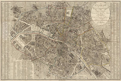 Paris Drawing - Antique Map Of Paris France By Ledoyen - 1823 by Blue Monocle