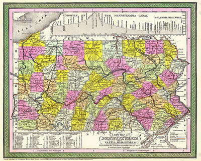 Pennsylvania Drawing - Antique Map Of Pennsylvania by Mountain Dreams