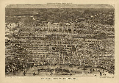 Philadelphia Drawing - Antique Map Of Philadelphia By Theodore R. Davis - 1872 by Blue Monocle