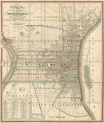 Philadelphia Drawing - Antique Map Of Philadelphia By William Allen - 1830 by Blue Monocle