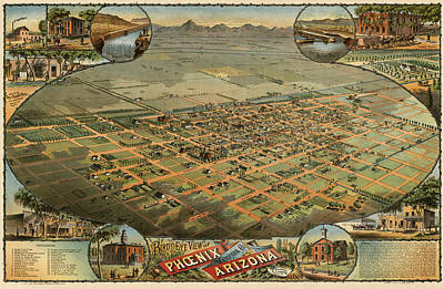 Phoenix Drawing - Antique Map Of Phoenix Arizona By C.j. Dyer - Circa 1885 by Blue Monocle