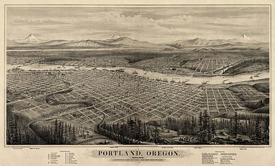 Antique Drawing - Antique Map Of Portland Oregon By E.s. Glover - 1879 by Blue Monocle