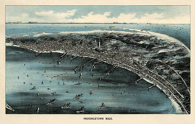 Provincetown Drawing - Antique Map Of Provincetown Massachusetts - 1910 by Blue Monocle