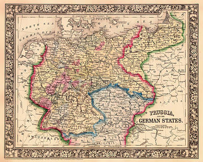 Antique Map Of Prussia And The German States 1860 Print by Mountain Dreams