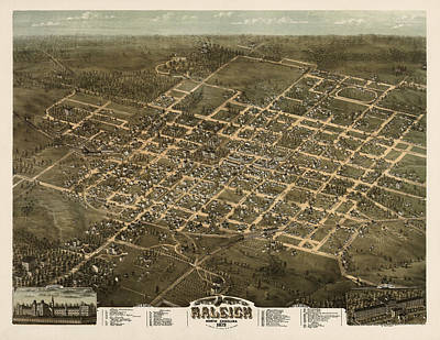 North Carolina Drawing - Antique Map Of Raleigh North Carolina By C. N. Drie - 1872 by Blue Monocle