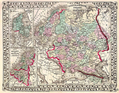 1874 Drawing - Antique Map Of Russia 1874 by Mountain Dreams