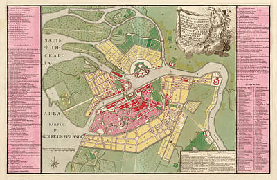 Antique Map Of Saint Petersburg Russia By Christoph Melchior Roth - 1776 Print by Blue Monocle