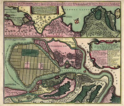 Antique Map Of Saint Petersburg Russia By Matthaeus Seutter - Circa 1734 Print by Blue Monocle