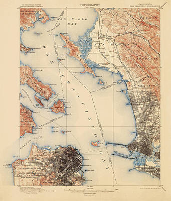 Berkeley Drawing - Antique Map Of San Francisco And The Bay Area - Usgs Topographic Map - 1899 by Blue Monocle