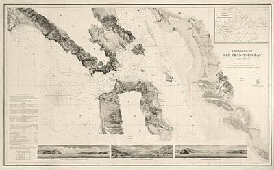 Antique Map Of San Francisco - Usgs Coast Survey Map - 1859 Print by Blue Monocle
