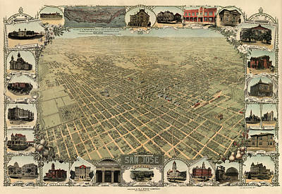 Company Drawing - Antique Map Of San Jose California - Circa 1901 by Blue Monocle