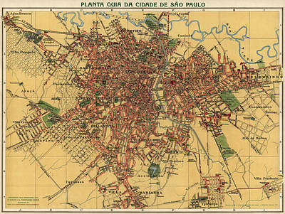 Old Drawing - Antique Map Of Sao Paulo Brazil By Alexandre Mariano Cococi - 1913 by Blue Monocle