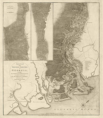 Savannah Drawing - Antique Map Of Savannah Georgia By Archibald Campbell - 1780 by Blue Monocle
