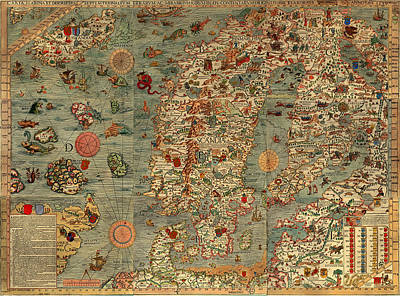 Antique Map Of Scandinavia 1539 Print by Mountain Dreams