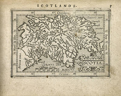 Old Drawing - Antique Map Of Scotland By Abraham Ortelius - 1603 by Blue Monocle