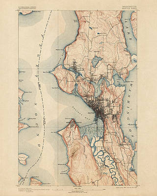 Washington Drawing - Antique Map Of Seattle - Usgs Topographic Map - 1894 by Blue Monocle