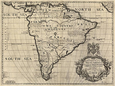 Old Drawing - Antique Map Of South America By Edward Wells - Circa 1700 by Blue Monocle