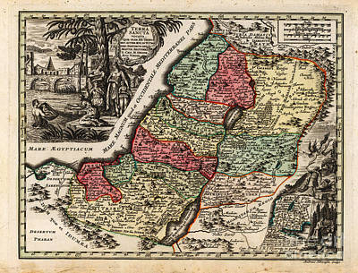 Drawing Painting - Antique Map Of Terra Sancta Vocata 1744 by Celestial Images