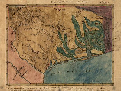 Old Drawing - Antique Map Of Texas By Stephen F. Austin - Circa 1822 by Blue Monocle
