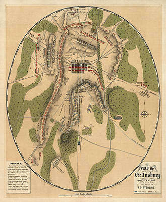 Antique Drawing - Antique Map Of The Battle Of Gettysburg By T. Ditterline - 1863 by Blue Monocle
