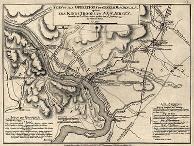 George Washington Drawing - Antique Map Of The Battle Of Trenton By William Faden - 1777 by Blue Monocle