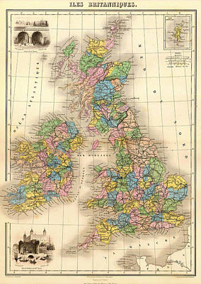 Antique Map Of The British Isles 1878 Print by Mountain Dreams