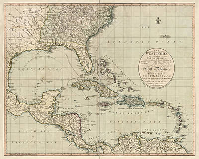 West Indies Drawing - Antique Map Of The Caribbean And Central America By John Cary - 1783 by Blue Monocle